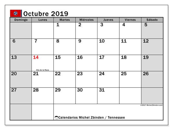Calendario octubre 2019, con días feriados de Tennessee. Calendario para imprimir gratis con días festivos.