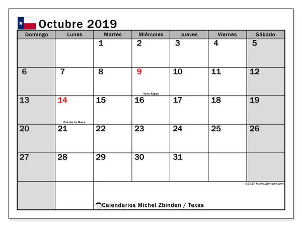 Calendario octubre 2019, con días feriados de Texas. Calendario para imprimir gratis con días festivos.