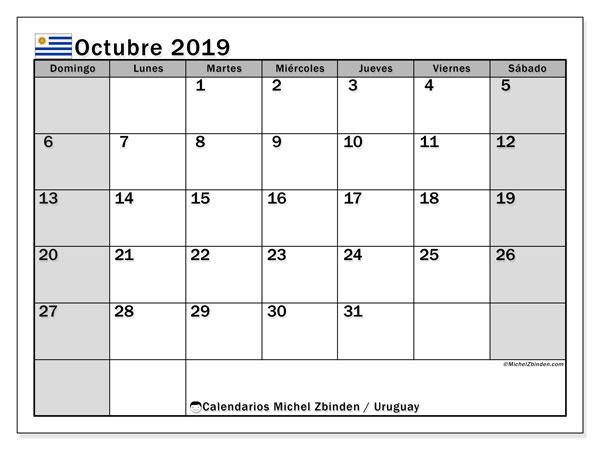 Calendario octubre 2019, con días feriados de Uruguay. Calendario vacaciones y festivos para imprimir gratis.