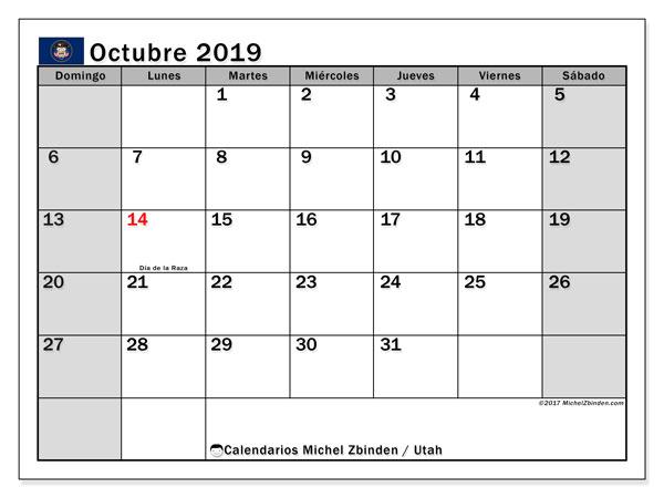 Calendario octubre 2019, con días feriados de Utah. Calendario vacaciones y festivos para imprimir gratis.