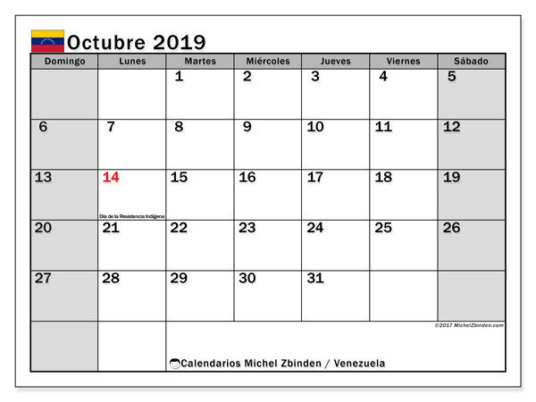 Calendario octubre 2019, con días feriados en Venezuela. Calendario para imprimir gratis con días festivos.