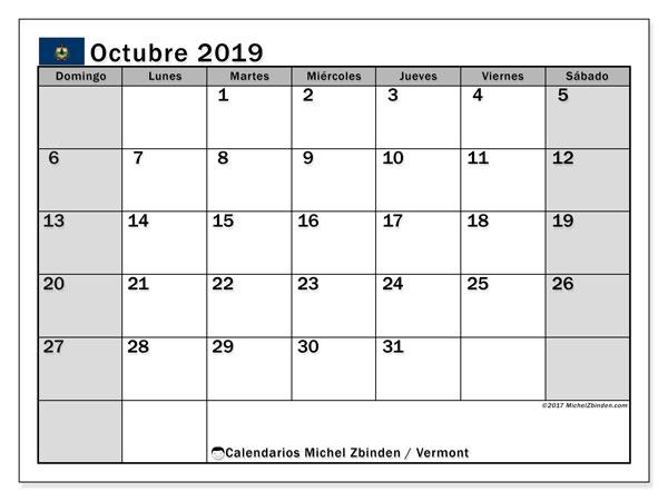 Calendario octubre 2019, con días feriados de Vermont. Calendario para imprimir gratis con días festivos.