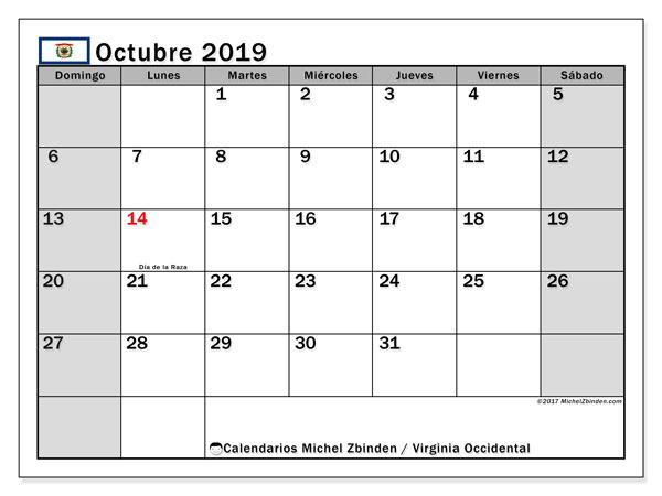 Calendario octubre 2019, con días feriados de Virginia Occidental. Calendario para imprimir gratis con días festivos.