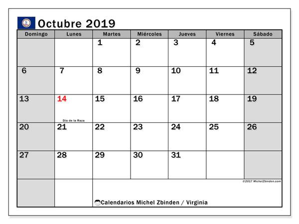 Calendario octubre 2019, con días feriados de Virginia. Calendario para imprimir gratis con días festivos.