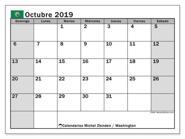 Calendario octubre 2019, con días feriados de Washington. Calendario para imprimir gratis con días festivos.