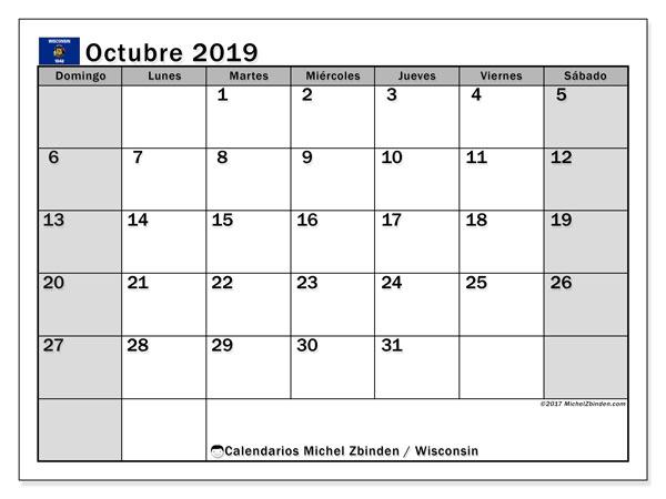 Calendario octubre 2019, con días feriados de Wisconsin. Calendario para imprimir gratis con días festivos.