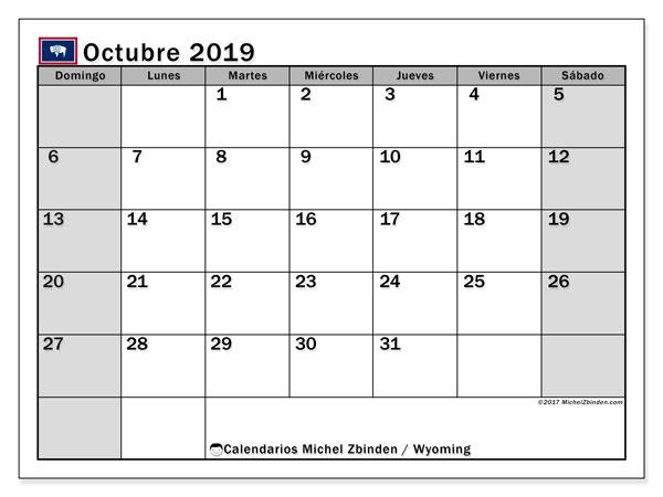 Calendario octubre 2019, con días feriados de Wyoming. Calendario para imprimir gratis con días festivos.