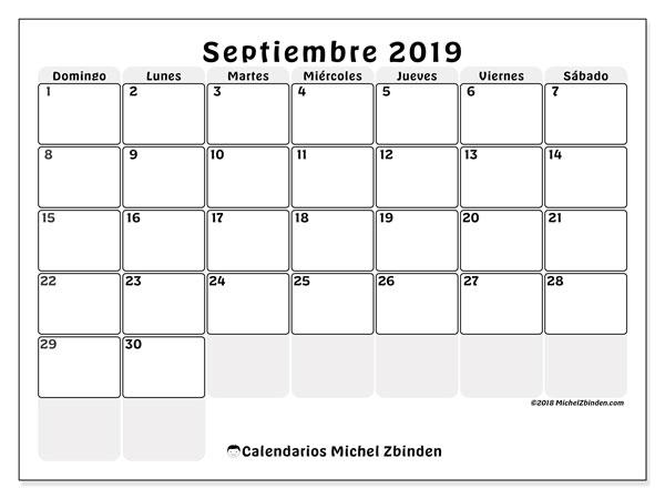 Calendario septiembre 2019, 44DS. Calendario mensual para imprimir gratis.