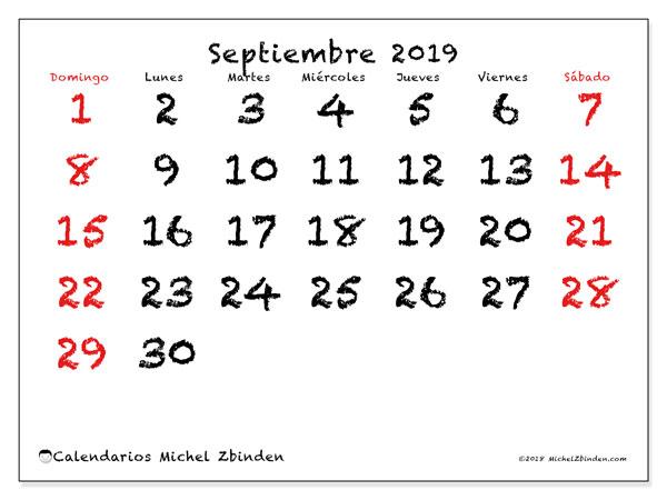 Calendario septiembre 2019, 46DS. Calendario para el mes para imprimir gratis.