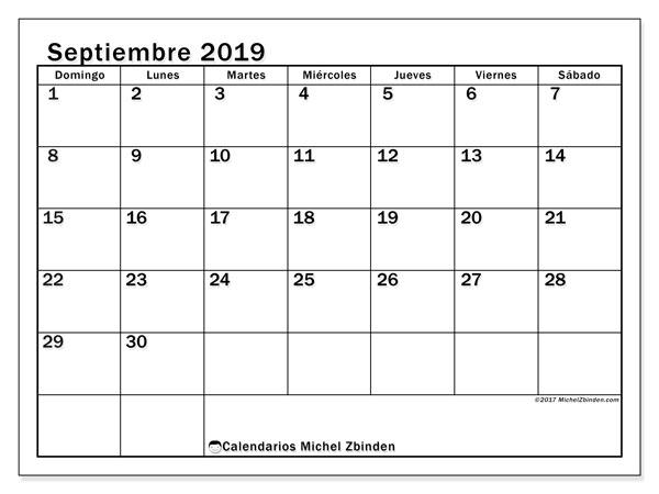 Calendario septiembre 2019 (50DS). Calendario imprimible gratis.