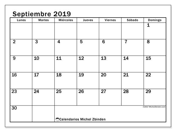 Calendario septiembre 2019, 50LD. Calendario mensual para imprimir gratis.