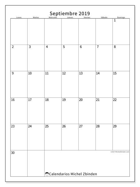Calendario septiembre 2019, 52LD. Calendario gratuito para imprimir.