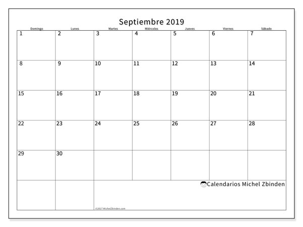 Calendario septiembre 2019, 53DS. Planificación para imprimir gratis.