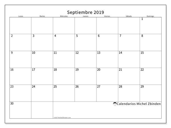 Calendario septiembre 2019, 53LD. Planificación para imprimir gratis.