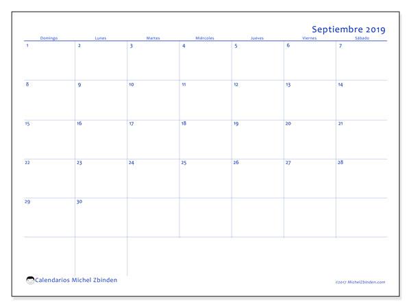Calendario septiembre 2019, 55DS. Calendario mensual para imprimir gratis.