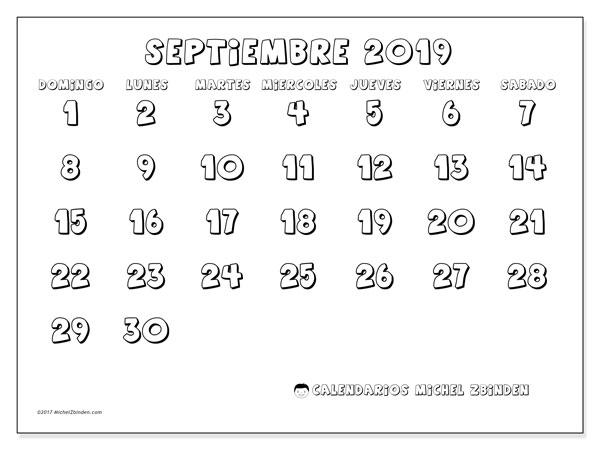 Calendario septiembre 2019, 56DS. Calendario imprimible gratis.