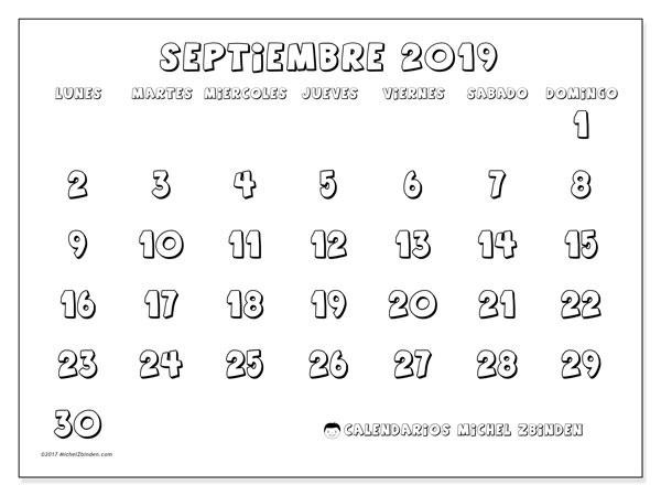 Calendario septiembre 2019, 56LD. Calendario para imprimir gratis.