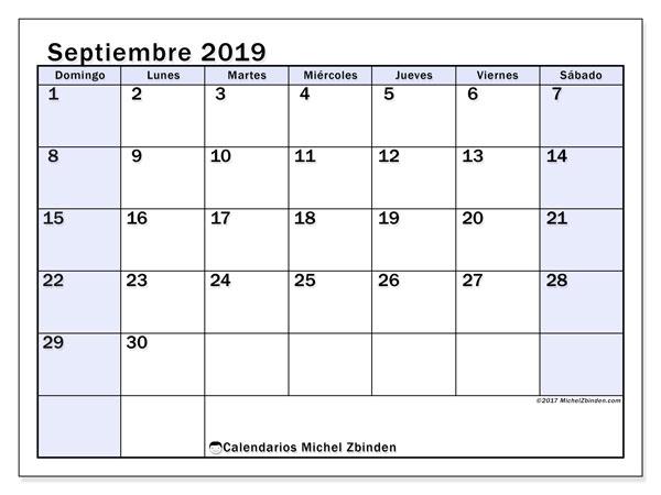 Calendario septiembre 2019 (57DS). Calendario para el mes para imprimir gratis.