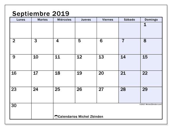 Calendario septiembre 2019, 57LD. Calendario imprimible gratis.