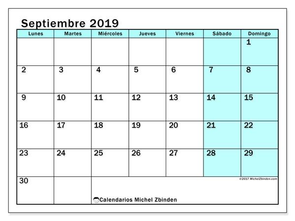 Calendario septiembre 2019, 59LD. Calendario mensual para imprimir gratis.