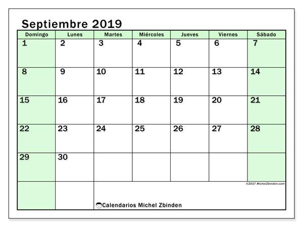 Calendario septiembre 2019, 60DS. Calendario imprimible gratis.
