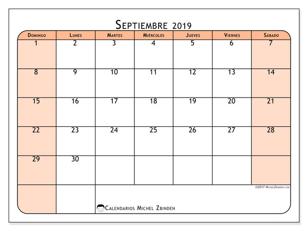 calendarios septiembre 2019  ds