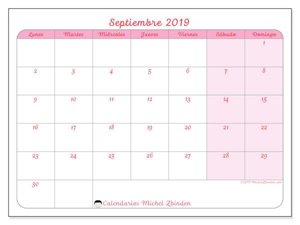 Calendario septiembre 2019, 63LD. Calendario mensual para imprimir gratis.