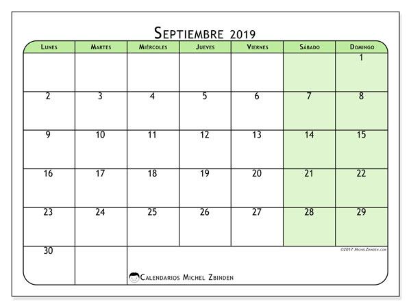 Calendario septiembre 2019, 65LD. Calendario imprimible gratis.