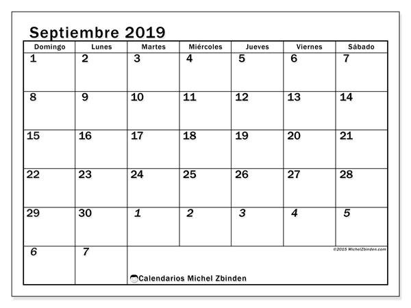 Calendario septiembre 2019, 66DS. Calendario mensual para imprimir gratis.