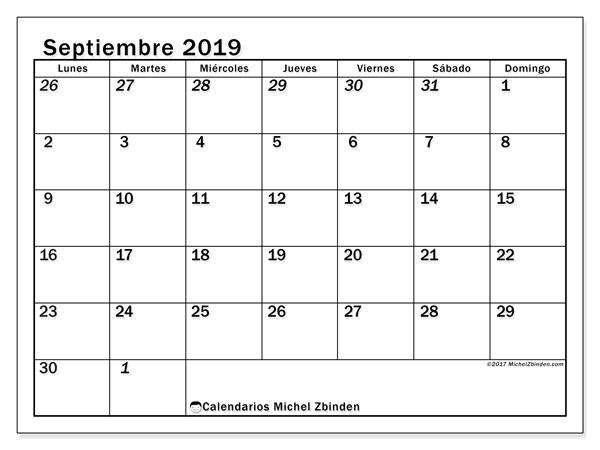 Calendario septiembre 2019, 66LD. Almanaque para imprimir gratis.
