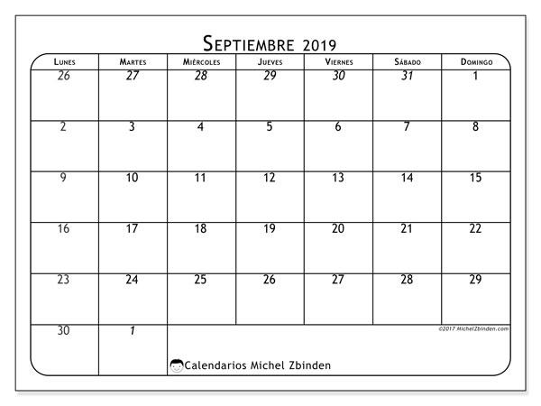 Calendario septiembre 2019, 67LD. Calendario para imprimir gratis.