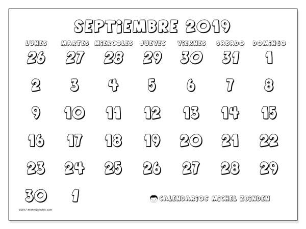 Calendario septiembre 2019 (71LD) - Michel Zbinden (es)