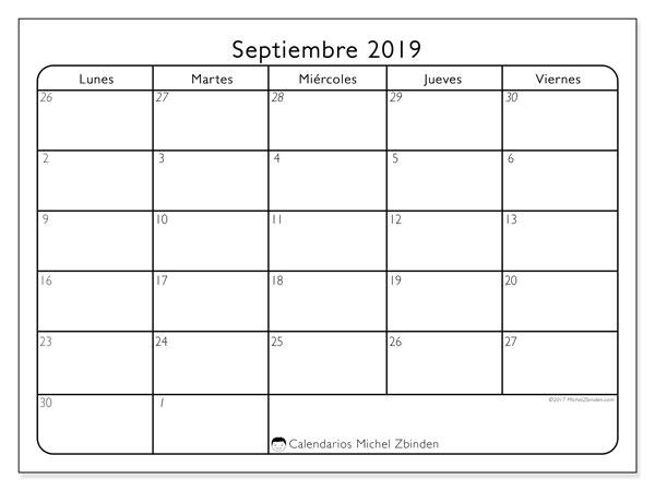 Calendario septiembre 2019, 74DS. Calendario para imprimir gratis.