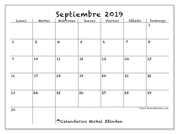 Calendario septiembre 2019, 77LD. Planificación para imprimir gratis.
