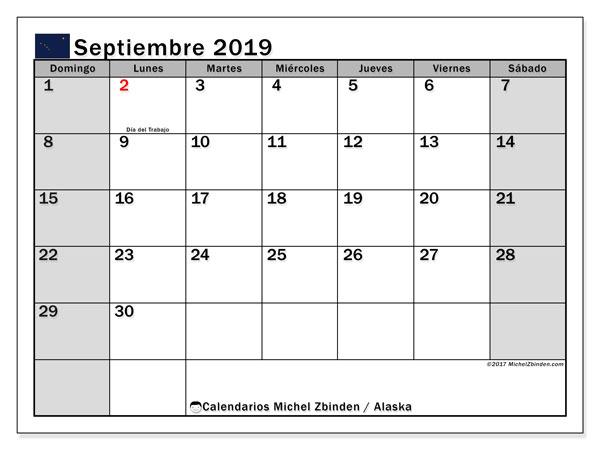 Calendario septiembre 2019, con días feriados en Alaska. Calendario para imprimir gratis con días festivos.