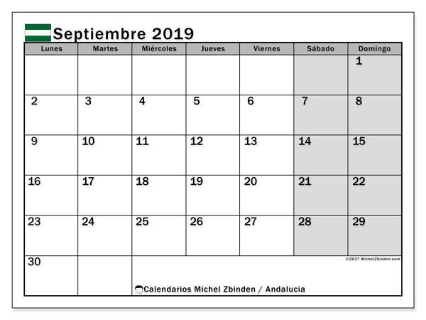 Calendario septiembre 2019, con días feriados en Andalucía. Calendario para imprimir gratis con días festivos.