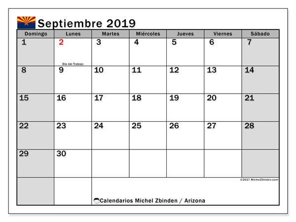 Calendario septiembre 2019, con días feriados en Arizona. Calendario vacaciones y festivos para imprimir gratis.