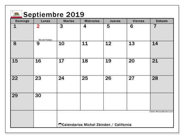 Calendario septiembre 2019, con días feriados de California. Calendario para imprimir gratis con días festivos.
