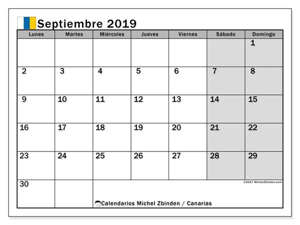 Calendario septiembre 2019, con los días festivos de las Islas Canarias. Calendario para imprimir gratis.