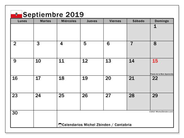 Calendario septiembre 2019, con días feriados en Cantabria. Calendario vacaciones y festivos para imprimir gratis.