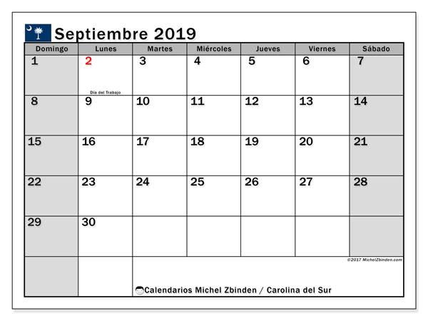 Calendario septiembre 2019, con días feriados en Carolina del Sur. Calendario vacaciones y festivos para imprimir gratis.