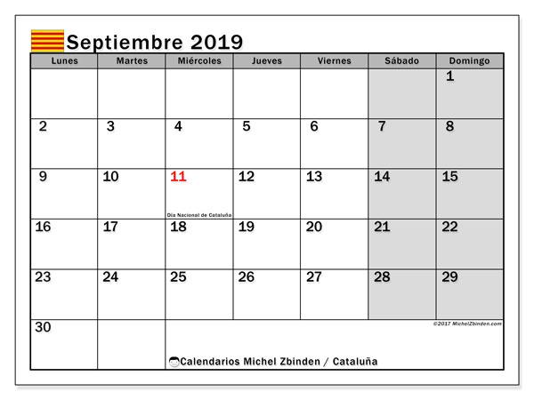 Calendario septiembre de 2019 - Cataluña. Calendario para imprimir: fiestas oficiales.