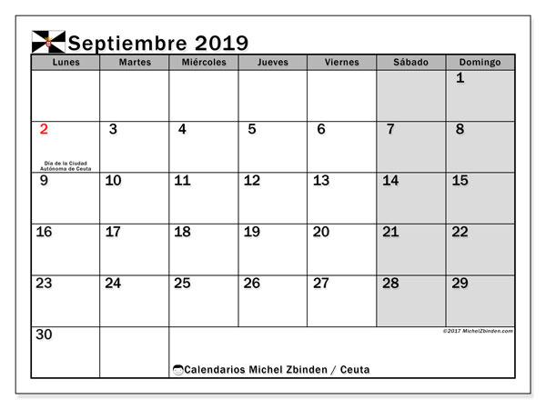 Calendario septiembre 2019, con días feriados en Ceuta. Calendario para imprimir gratis con días festivos.