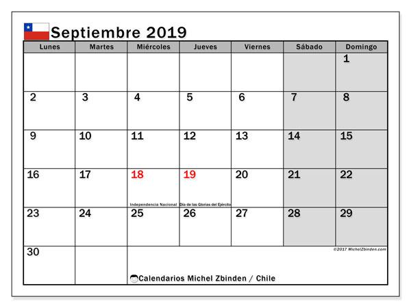 Calendario septiembre 2019, con los días feriados para Chile. Calendario para el mes para imprimir gratis.
