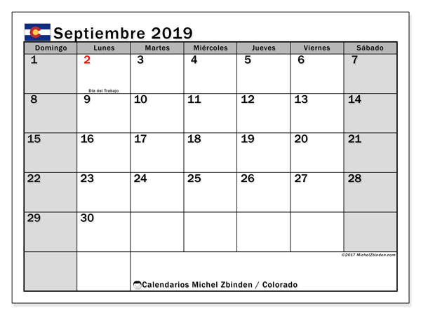 Calendario septiembre 2019, con días feriados en Colorado. Calendario vacaciones y festivos para imprimir gratis.