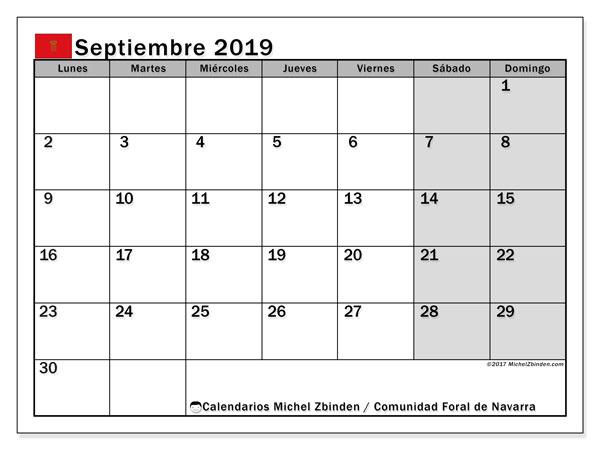 Calendario septiembre 2019, con los días festivos para la Comunidad Foral de Navarra. Calendario imprimible gratis.