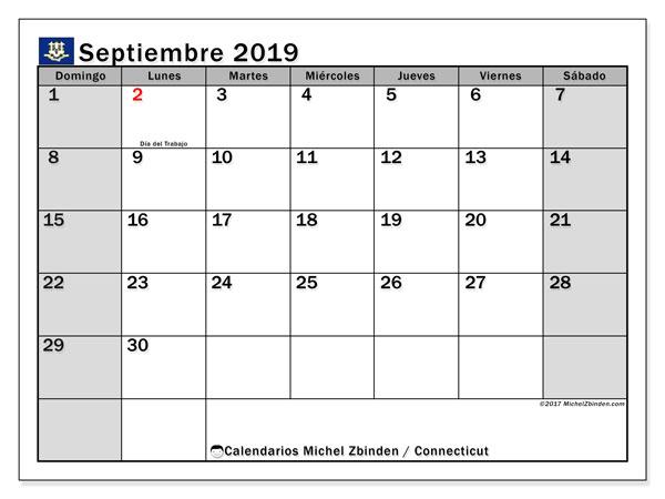 Calendario septiembre 2019, con días feriados en Connecticut. Calendario vacaciones y festivos para imprimir gratis.