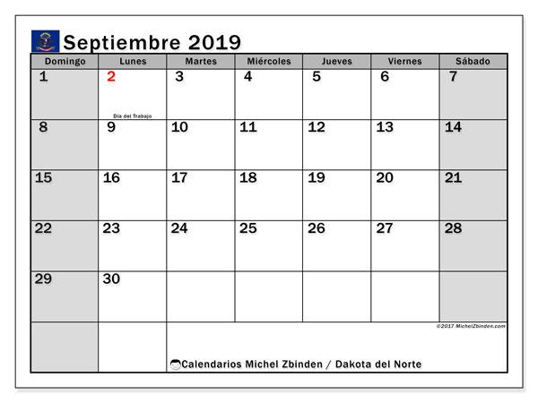 Calendario septiembre 2019, con días feriados en Dakota del Norte. Calendario vacaciones y festivos para imprimir gratis.