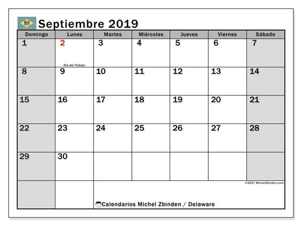 Calendario septiembre 2019, con días feriados en Delaware. Calendario vacaciones y festivos para imprimir gratis.
