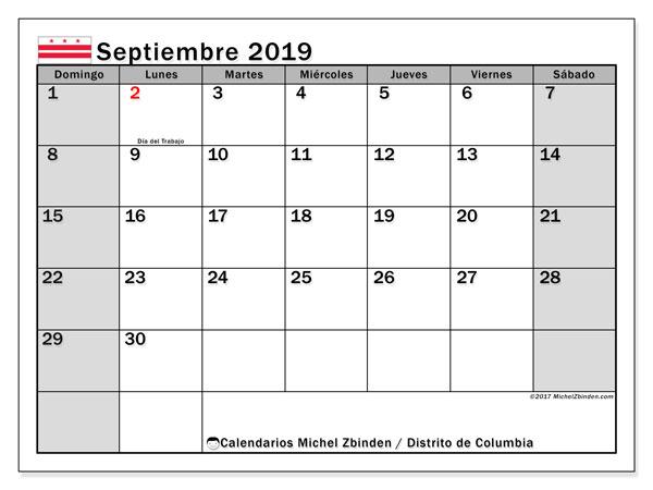 Calendario septiembre 2019, con días feriados del Distrito de Columbia. Calendario vacaciones y festivos para imprimir gratis.